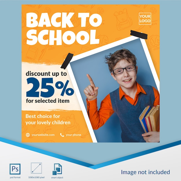 Back to school special discount offer for student social media post template Premium Psd