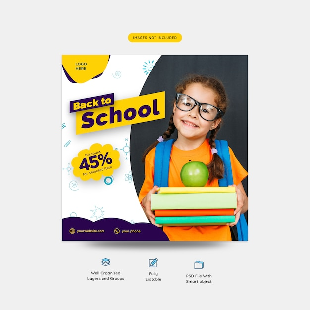 Back to school special discount promo social media post template Premium Psd