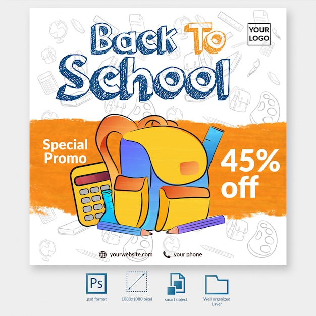 Back to school special promo social media post template Premium Psd