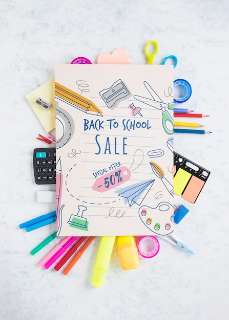 Back to school special sale offer with 50% off Free Psd
