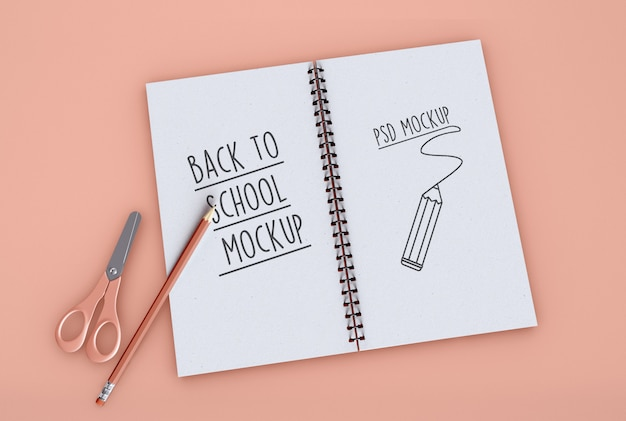 Back to school on spiral notebook mockup Premium Psd