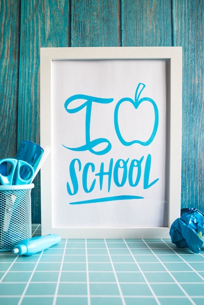 Back to school supplies with white frame Free Psd