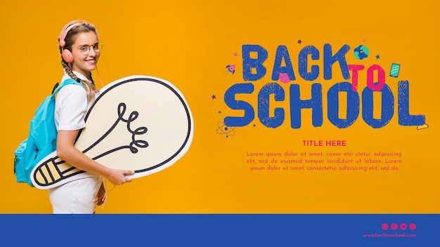 Back to school template with smiling teenager girl Free Psd