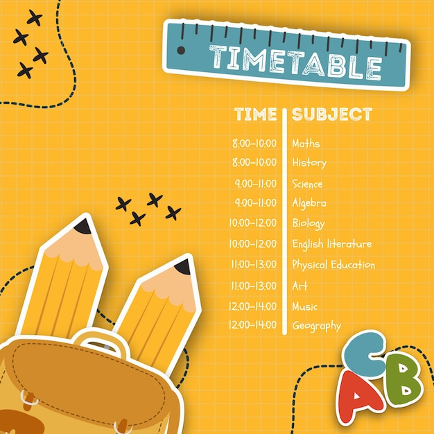 Back to school timetable template Free Psd
