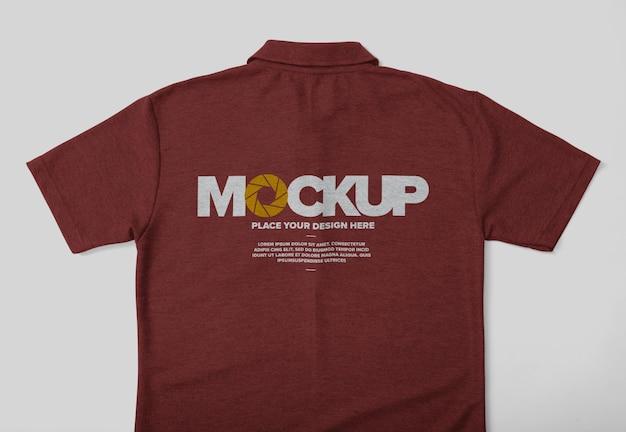 주머니와 격리 뒷면 폴로 셔츠 모형 디자인 프리미엄 PSD 파일