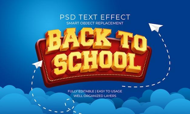 Назад в школьное золото и красный текст эффект Premium Psd