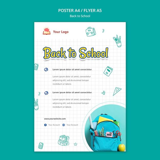 Обратно в школу шаблон плаката Бесплатные Psd