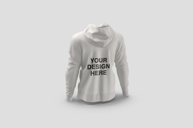 Back view hoodie mockup design rendering isolated Premium Psd