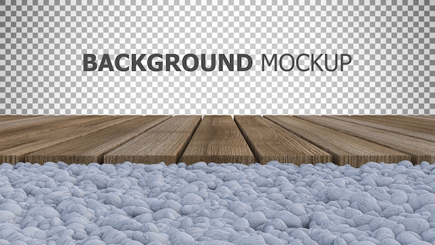 Background for 3d rendering of wooden panel placed on white rock garden Premium Psd