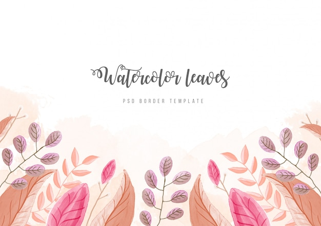 Background with watercolor flowers border psd template Free Psd