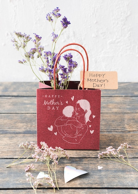 Bag mockup for mothers day Free Psd
