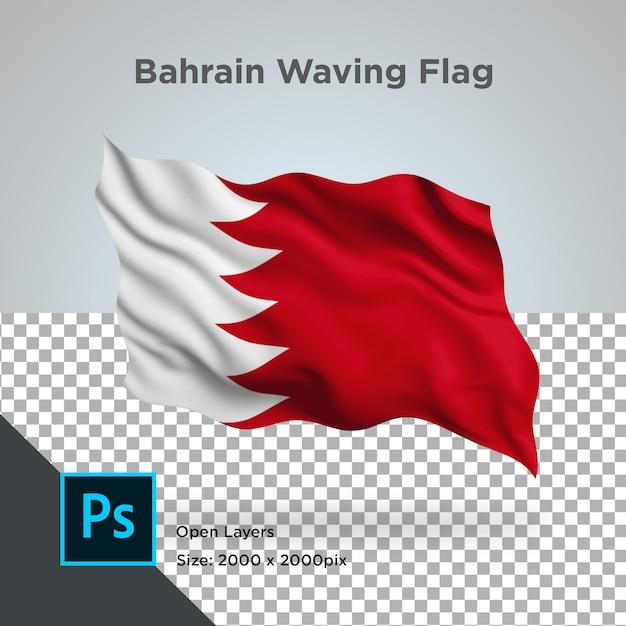 Bahrain flag wave  in transparent mockup Premium Psd