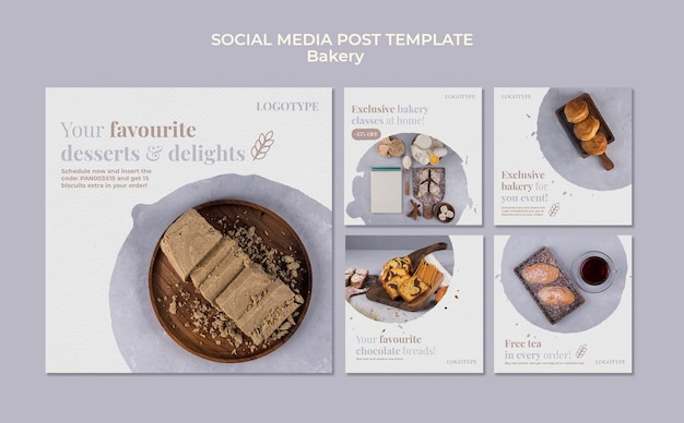 Modello di post sui social media di annunci di panetteria Psd Gratuite