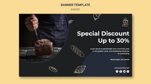 베이커리 광고 템플릿 배너 무료 PSD 파일