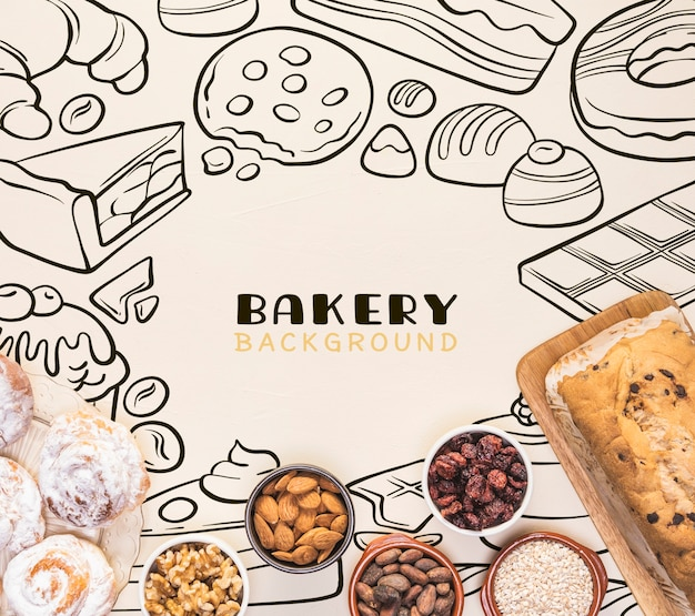 Bakery background hand drawn design with nuts in bowls Free Psd
