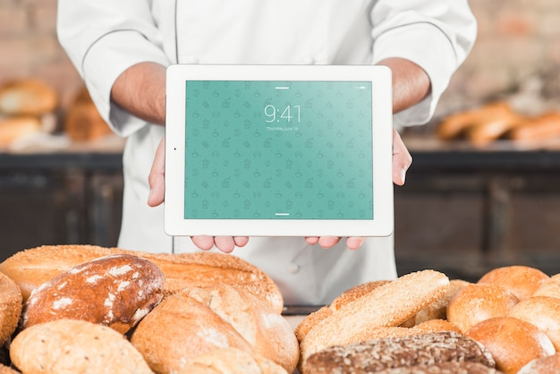 Bakery mockup with tablet Free Psd