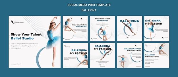 발레리나 소셜 미디어 게시물 무료 PSD 파일