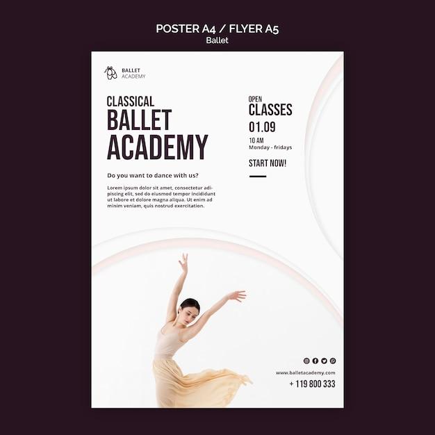 Шаблон флаера с концепцией балета Бесплатные Psd