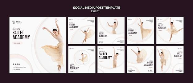 Modello di post sui social media di concetto di balletto Psd Gratuite
