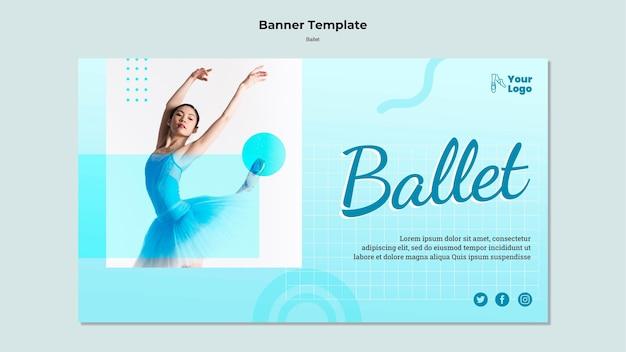 Шаблон горизонтального баннера балерина с фото Бесплатные Psd