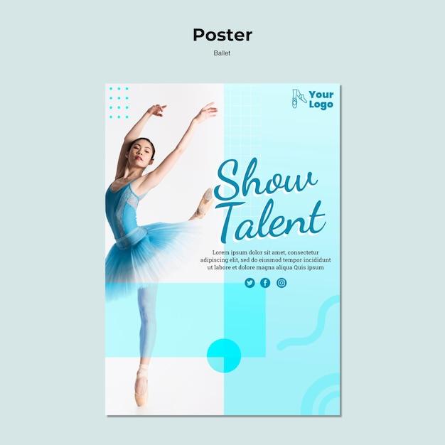Шаблон плаката балерина Бесплатные Psd