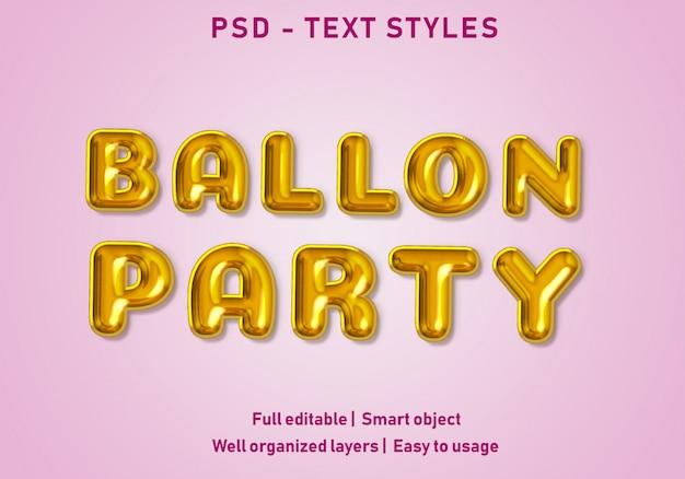Текстовые эффекты стиля ballon партии редактируемые psd Premium Psd