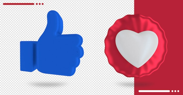 Balloon with heart shape and facebook like in 3d rendering Premium Psd