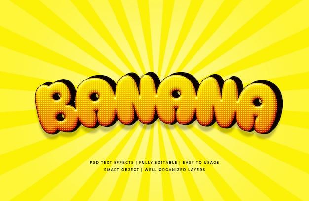 바나나 3d 텍스트 스타일 효과 프리미엄 PSD 파일