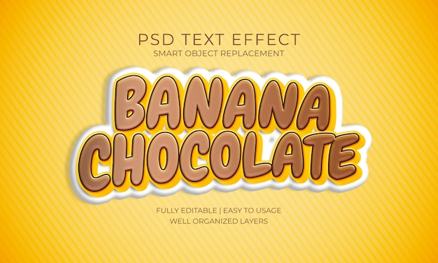 Banana chocolate text effect Premium Psd