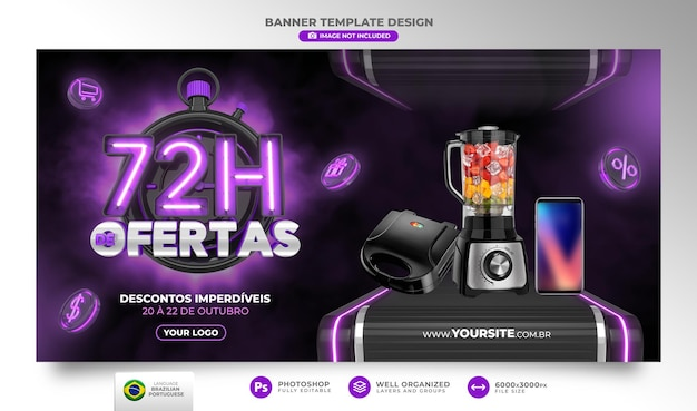 Banner 72 hours of offers in brazil render 3d template in portuguese for marketing