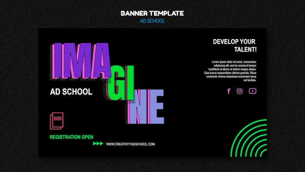 バナー広告学校テンプレート 無料 Psd