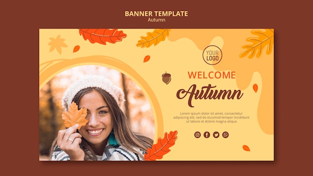 Banner autumn ad template Free Psd
