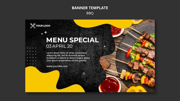 Banner for barbecue restaurant Free Psd
