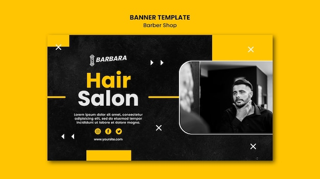 Banner barber shop template Free Psd