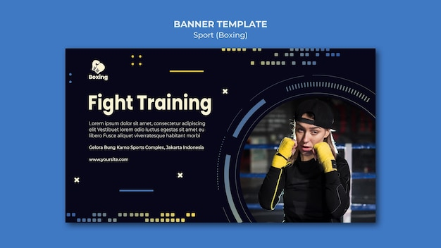 Banner boxing ad template Free Psd