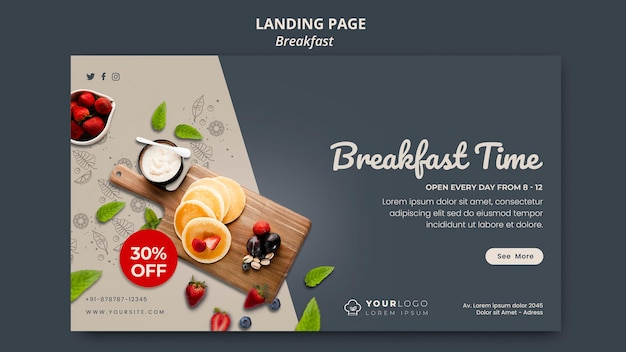 Banner breakfast time template Free Psd
