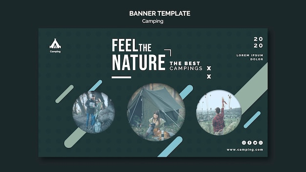 Banner camping place ad template Premium Psd