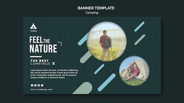 Banner camping place template Free Psd