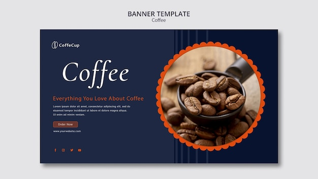 Banner card template with coffee concept Free Psd