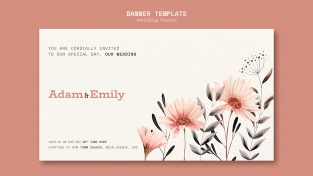 Banner concept for wedding template Free Psd