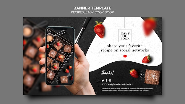 Banner cook book template Free Psd