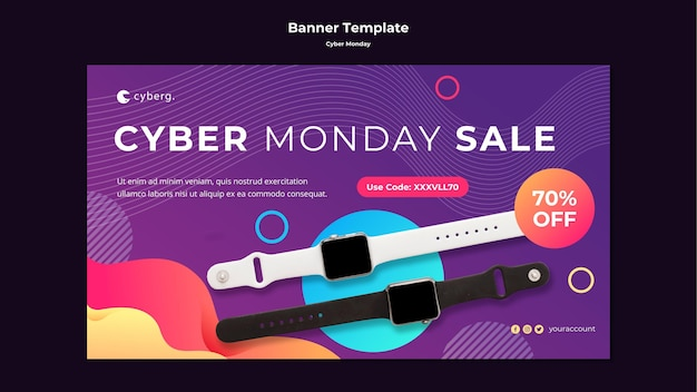 Banner cyber monday template Free Psd