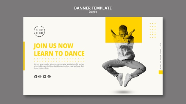 Banner for dance lessons Free Psd