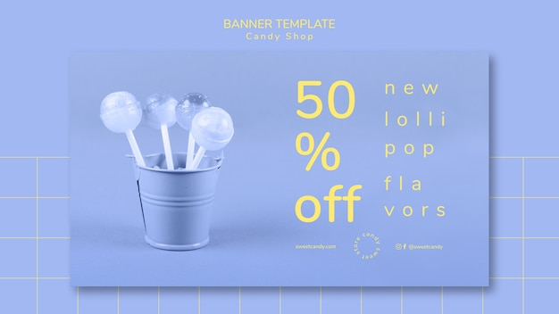 Banner design for candy shop template Free Psd