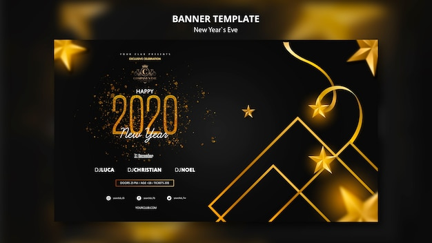 Banner design for new year eve template Free Psd
