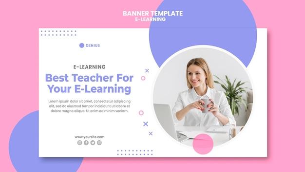 Banner modello di annuncio e-learning Psd Gratuite