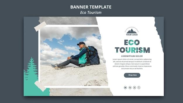 Шаблон рекламного баннера экологического туризма Premium Psd