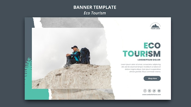 Banner eco tourism template Free Psd