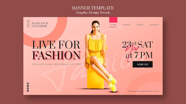 Banner fashion store template Free Psd