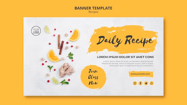 Banner healthy recipes template Free Psd